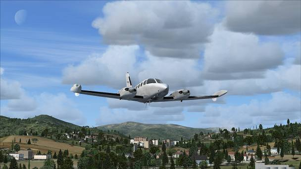 FSX+IF Screenshot: Default FSX, Carenado C340 II